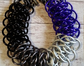 Asexual/Ace Pride chainmaille bracelet  - Viperscale