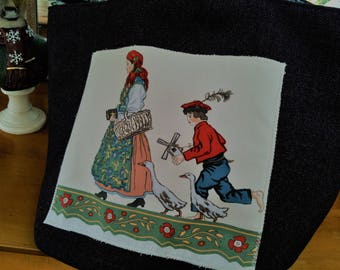 "Tote bag with appliqué fabric PIERRE FREY ""Sunday morning"""