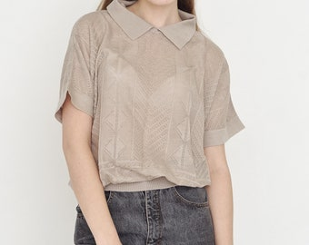 VINTAGE Light Brown See Through Lace Retro Top Blouse