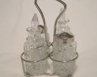 Cute Silverplate Four-Piece Cruet Set with Stand