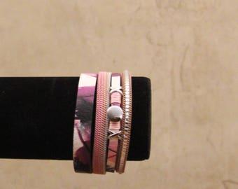 Leather bracelet, women,purple and punk bracelet,flowers,gift,Four rows bracelet,strass,magnetic claps, romantic,vintage,handmade,jewelry