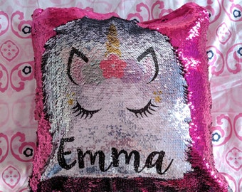 Custom Sequin Pillow, Personalized Mermaid Pillow, Custom Glitter Pillow, Mermaid Pillow, Sequin Pillow, Custom Pillow with Insert