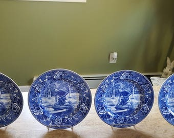 4 Wedgewood Flow Blue Native American Plates Set of Four