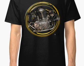 Ducati Classic 750cc inspired Motorcycle engine TShirt INISHED Productions