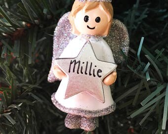 Personalised Christmas Tree Decoration - Xmas Angel with Star Silver or Gold