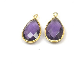 10 Pieces Best Quality Pear Shape Faceted 10X12 MM Amethyst quartz Handmade Bezel Connectors With Gold Plated (GBH91182)