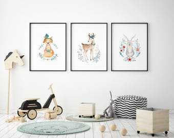 Watercolour woodland animals nursery A4 new baby print | present | gift | kids room | art prints