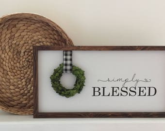 Simply Blessed Handcrafted Wood Sign|Wood Sign With Boxwood Wreath|Farmhouse Painted Wood Sign With Boxwood Wreath|Buffalo Check Ribbon