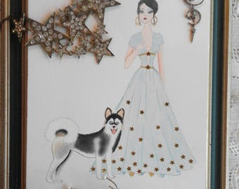 Digital Print With A Girl In Blue Dress With A Siberian Husky
