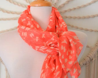 Coral Dove Birds on Flight Cotton Women's Scarf, Coral Scarf, Bird Print Scarf, Boho, Nature Scarves, Nature fashion