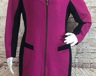 Tahari Long Sleeve Vintage Dress with Zipper Front Closure