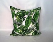 Tropical Monstera, Banana and Palm leaf print cushion cover