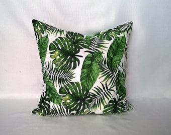 Tropical Monstera, Banana and Palm leaf print cushion cover