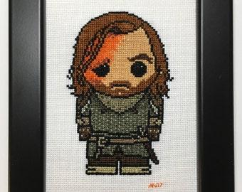 Game of Thrones Handmade Cross Stitch The Hound Sandor Clegane- Framed