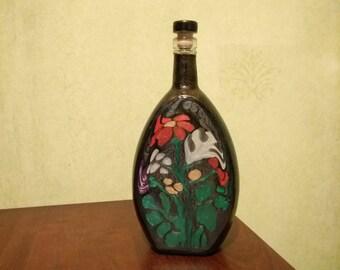 Blackbottle with red flower, vase, carafe, gift, home decor