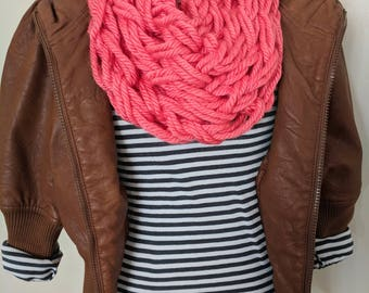 Coral Arm Knit Scarf | Coral Infinity Scarf | Trendy Scarf | Pink Scarf | Neck Warmer | Bright Pink Scarf | Valentine's Day Gifts