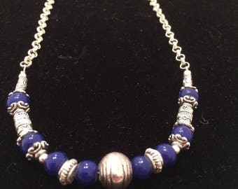 Blue and silver ethnic necklace