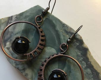 Copper Circular Black Earrings