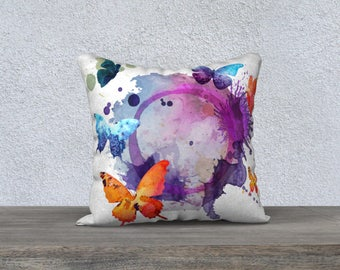 colourful cushion pillow case colorful watercolor butterfly, orange, purple, white, green fabric very soft-cover of pillow.