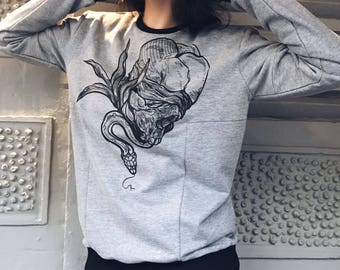Womens clothing Sweatshirt for her Sweatshirt for women Cotton sweatshirt Womens sweatshirt Sweater for women Grey sweatshirt