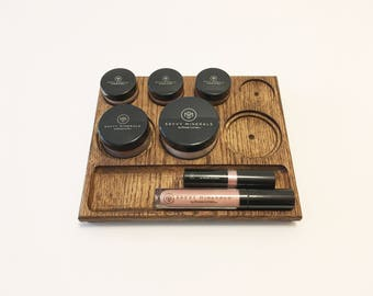 Mineral Makeup Tray - Red oak wooden mineral makeup organizer for counter or drawer - Perfect fit for Young Living Savvy Minerals Makeup