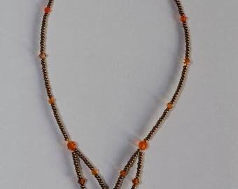 Bronze and Topaz Swarovski Crystal Necklace adjustable nickel free