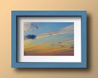 Cloud Print, Cloud Photography, Sunset, Blue and Orange Print