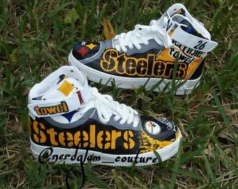 Custom Hand-painted NFL Pittsburgh Steelers Nike-Women Men Air Force 1 High 07 White