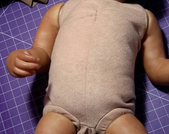 Body reborn, realistic doll body, fabric body faux suede, stamped, front legs, plastic links