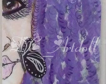 Little Details Bookmark/ Hand painted Bookmark/ Booklover/Purple Locs Head Bookmark