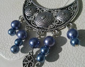 Blue necklace with sterling silver