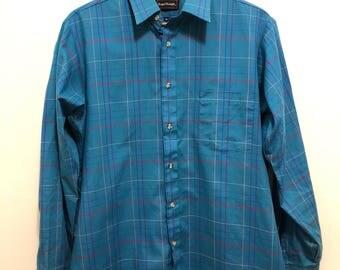 Vintage Blue Royal Knight Plaid Shirt / Retro Button Down Shirt