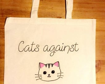 Cats against catcalling canvas tote