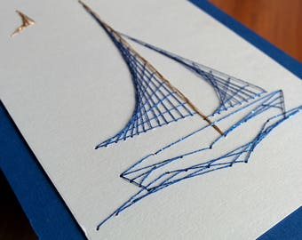 Greeting card, hand-embroidered sailing boat