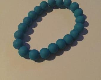 Neon Blue Bead Bracelet