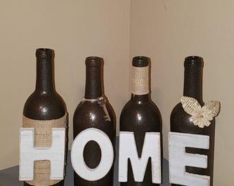 Home Wine Bottles - wine bottle decor - wine bottle crafts - mantle decor - housewarming gift - centerpiece