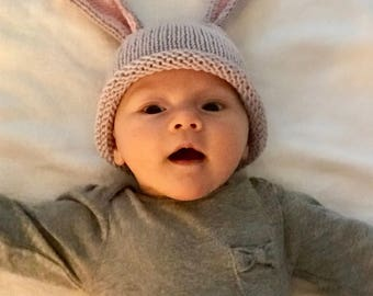 Newborn knitted hat...bunny Cappi for March - April...free shipping