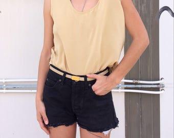 Vintage sand beige silk sleeveless blouse