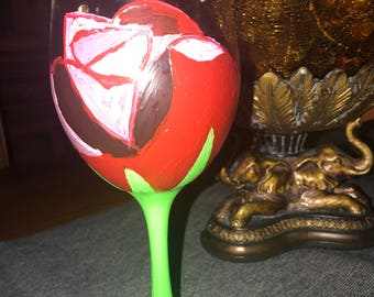 Rose painted wine glass