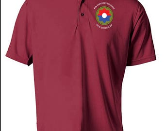 9th Infantry Division Embroidered Moisture Wick Polo Shirt -3227