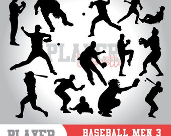 Baseball Man silhouette clipart, baseball player,softball clipart, athlete silhouette,baseball svg,baseball cut file,cameo or cricut,A-007