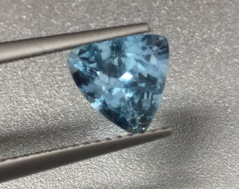 Blue aquamarine trillion gemstone