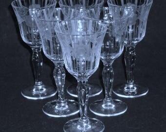 6 Fostoria Tiffin CORDIAL GOBLETS clear Crystal Optic stemware glasses Flower Cut & vertical strike Needle Etch