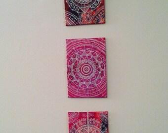 Set of Three Mandalas on 4x6 panel canvas