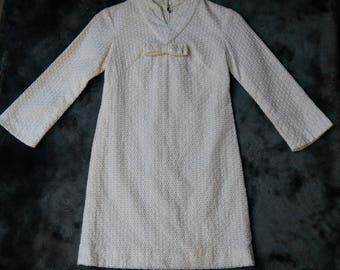 Vintage Lemon and Ivory Textured 1960's Mini Dress