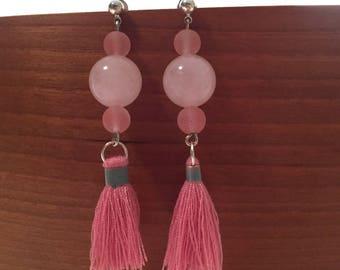 Earrings, precious stones, tassels, pink