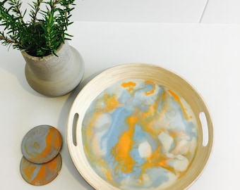 Resin serving tray with coasters