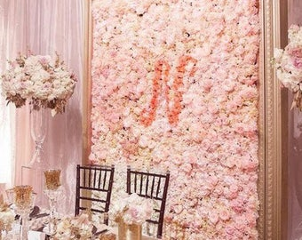 4 Blush Ivory Flower Wall Pink Panels Hydrangeas Artificial Flower Wedding Decorations Fake Flower Greenery Flower Square Pink Wholesale
