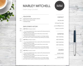 "Resume Template and Cover Letter With References Template for Word | DIY Printable 2 Pages | The ""Marley Mitchell"" 