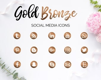 Social Media Icons, Gold Rose Icons, Glam Design, Social Media Buttons, Pink Buttons, Social Icons, Blog Icons, Website Icons, Branding